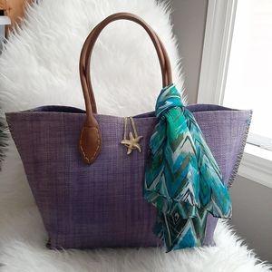 Lilly Pulitzer Purple Straw Starfish Beach Tote